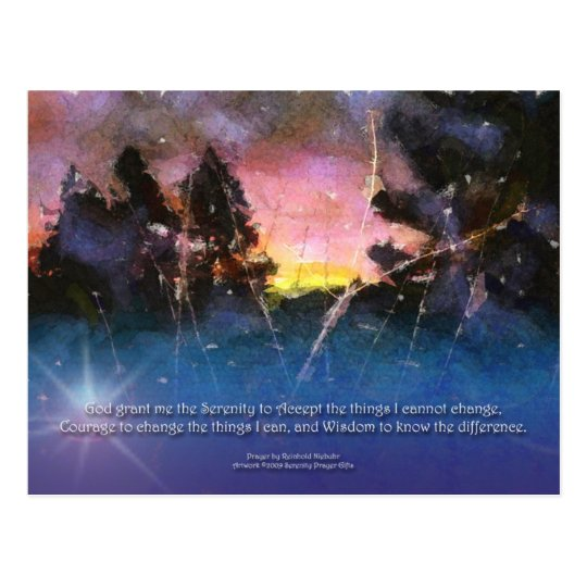 Serenity Prayer Watercolor Sunrise Postcard