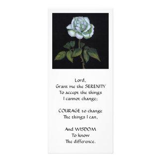 SERENITY PRAYER: White Rose in Color Pencil Rack Card