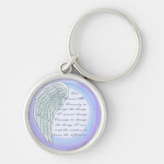 Serenity Prayer Wing round key chain
