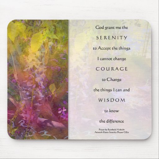 Serenity Prayer Wisteria Mouse Pad