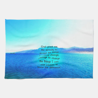 Serenity Prayer With Blue Ocean and Amazing Sky Hand Towels