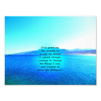 Serenity Prayer With Blue Ocean and Amazing Sky Art Photo