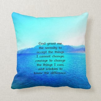 Serenity Prayer With Blue Ocean and Amazing Sky Pillows