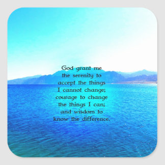 Serenity Prayer With Blue Ocean and Amazing Sky Square Stickers