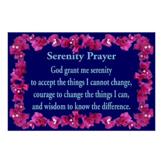 Serenity Prayer with Bouganvilla Frame Poster