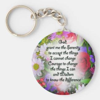 Serenity Prayer with Flowers Basic Round Button Keychain