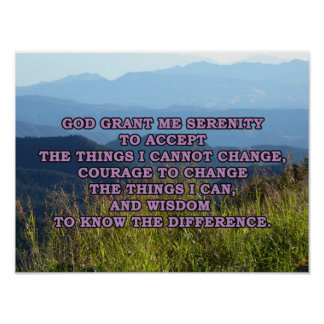 Serenity Prayer with Mountains Print