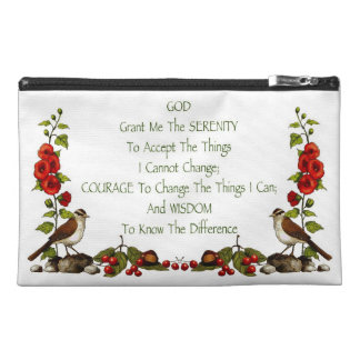 Serenity Prayer With Nature Border: Hand Drawn Travel Accessory Bag