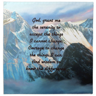 Serenity Prayer With Panoramic View Mount Everest Cloth Napkin
