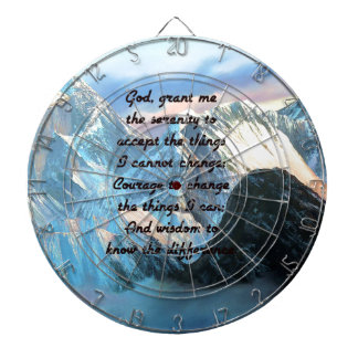 Serenity Prayer With Panoramic View Mount Everest Dartboard