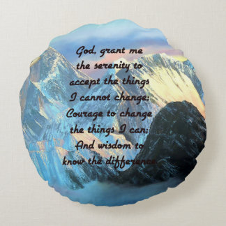 Serenity Prayer With Panoramic View Mount Everest Round Pillow