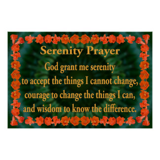 Serenity Prayer with Pomegranate Frame Poster