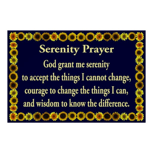 Serenity Prayer with Sunflower Frame Posters
