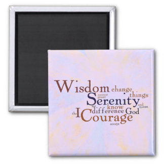 Serenity Prayer Wordle on abstract 2 Inch Square Magnet