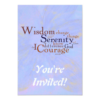 Serenity Prayer Wordle on abstract 5x7 Paper Invitation Card