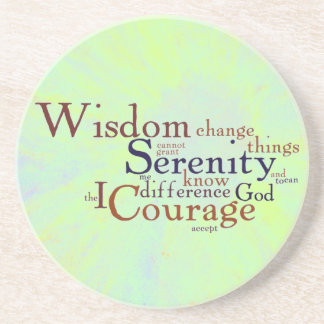 Serenity Prayer Wordle on abstract Coaster