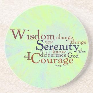 Serenity Prayer Wordle on abstract Coaster