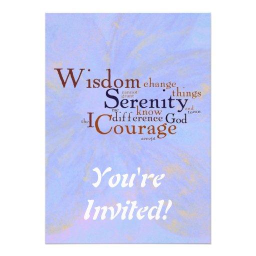 Serenity Prayer Wordle on abstract Invitations