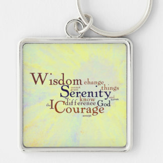 Serenity Prayer Wordle on abstract Keychain