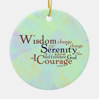 Serenity Prayer Wordle on abstract Double-Sided Ceramic Round Christmas Ornament