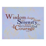 Serenity Prayer Wordle on abstract Poster