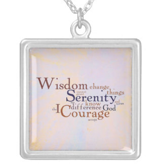 Serenity Prayer Wordle on abstract Silver Plated Necklace