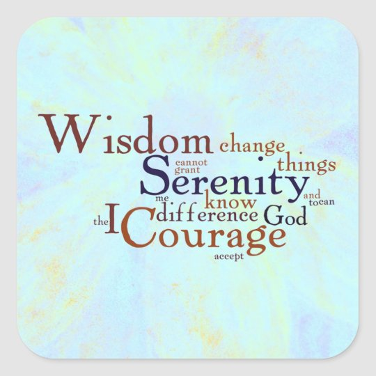 Serenity Prayer Wordle on abstract Square Sticker