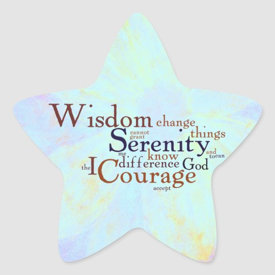 Serenity Prayer Wordle on abstract Star Sticker