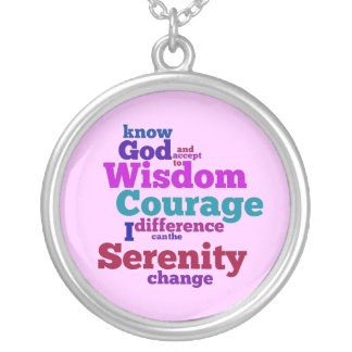 Serenity Prayer wordle Silver Plated Necklace