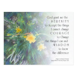 Serenity Prayer Yellow Flowers Postcard