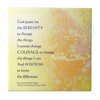 Serenity Prayer Yellow Fountain Ceramic Tile