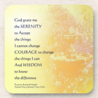 Serenity Prayer Yellow Fountain Drink Coaster