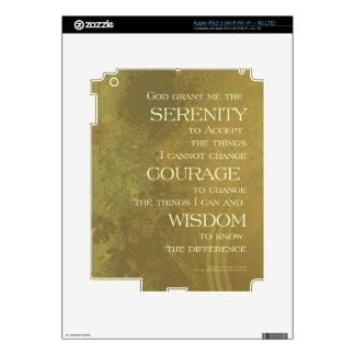 Serenity Prayer Yellow Gold Decal For iPad 3