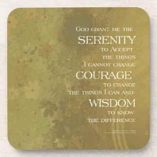 Serenity Prayer Yellow Gold Drink Coaster