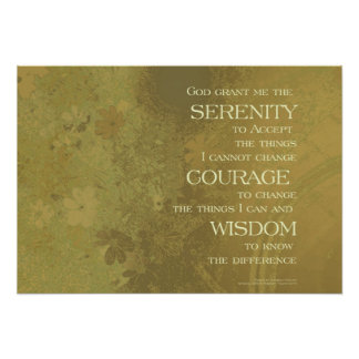Serenity Prayer Yellow Gold Poster