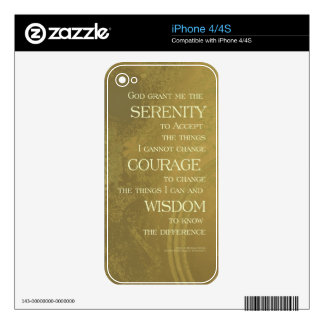 Serenity Prayer Yellow Gold Skin For iPhone 4S