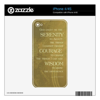 Serenity Prayer Yellow Gold Skin For The iPhone 4