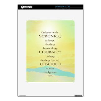 Serenity Prayer Yellow Sky Blue Mountain Skins For The iPad
