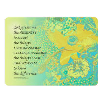Serenity Prayer Yellow Turquoise Bouquet Card
