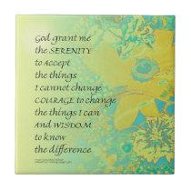 Serenity Prayer Yellow Turquoise Bouquet Ceramic Tile