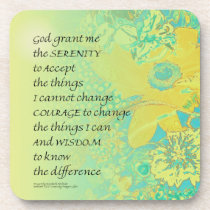 Serenity Prayer Yellow Turquoise Bouquet Drink Coaster