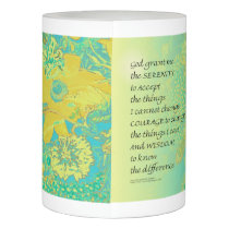 Serenity Prayer Yellow Turquoise Bouquet Flameless Candle