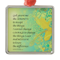 Serenity Prayer Yellow Turquoise Bouquet Metal Ornament