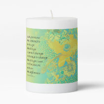 Serenity Prayer Yellow Turquoise Bouquet Pillar Candle
