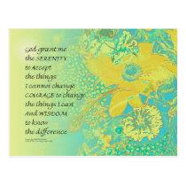 Serenity Prayer Yellow Turquoise Bouquet Postcard