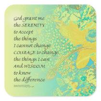 Serenity Prayer Yellow Turquoise Bouquet Square Sticker