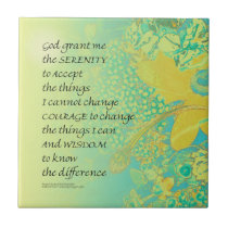 Serenity Prayer Yellow Turquoise Bouquet Tile