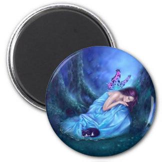Serenity Sleeping Fairy & Kitten Magnet