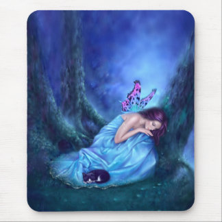 Serenity Sleeping Fairy & Kitten Mousepad