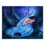 Serenity Sleeping Fairy & Kitten Poster Art Print